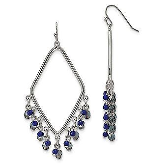 Tono de plata pastor gancho Sodalite y cristales azules diamante en forma de larga gota colgante pendientes regalos de joyería para las mujeres