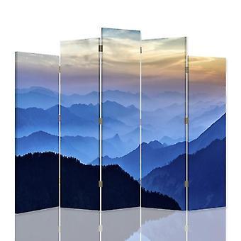 Dekorative Raumteiler, 5 Paneele, doppelseitig, 360 ° Drehbare Leinwand, Panorama der Berge 1