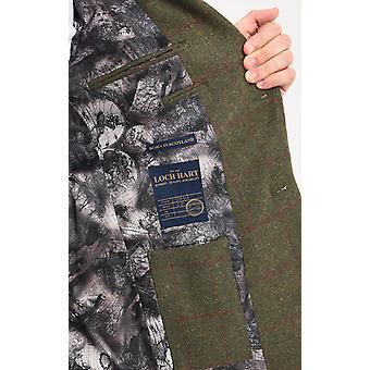 Loch Hart mens grön fönsterrutan kontrollera Tweed 3 Piece kostym sammet trim