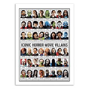 Art-Poster - Iconic Horror film Villains - Olivier Bourdereau 50 x 70 cm