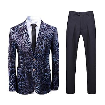 Alle Themen Men's 2-teilige Anzüge Leopard Print Business Casual Blazer & Pants
