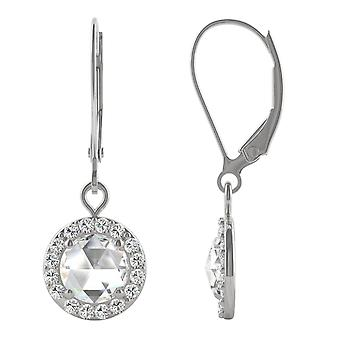 14K White Gold Moissanite by Charles & Colvard 6mm Round Rose Cut Drop Earrings, 1.14cttw DEW