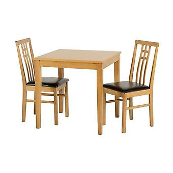 Vienna Dining Set Medium Oak/brown Pu