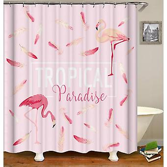 Pink Tropical Paradise Flamingo Shower Curtain