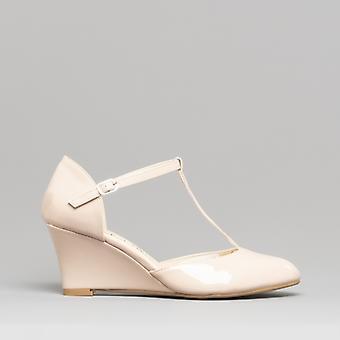 Comfort Plus Sissy Ladies Wide Fit Wedge Heel Shoes Beige