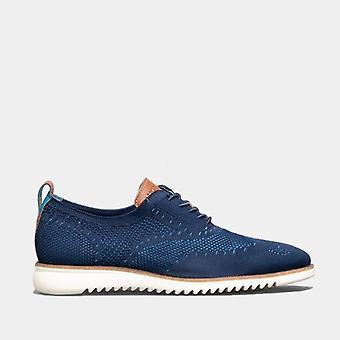 Oswin Hyde Daniel Mens Knitted Oxford Shoes Navy