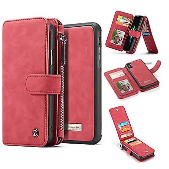 Iphone Xs Max Red Multifunction Wallet Case - Caseme