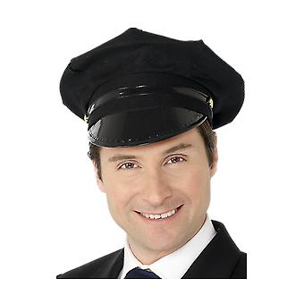 Mens Chauffer Hat Black Cap Fancy Dress Costume الملحق