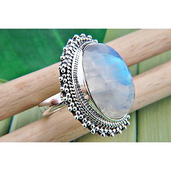 Moonstone Ring 925 hopea Sterling hopea naisten rengas valkoinen (MRI 82-04)