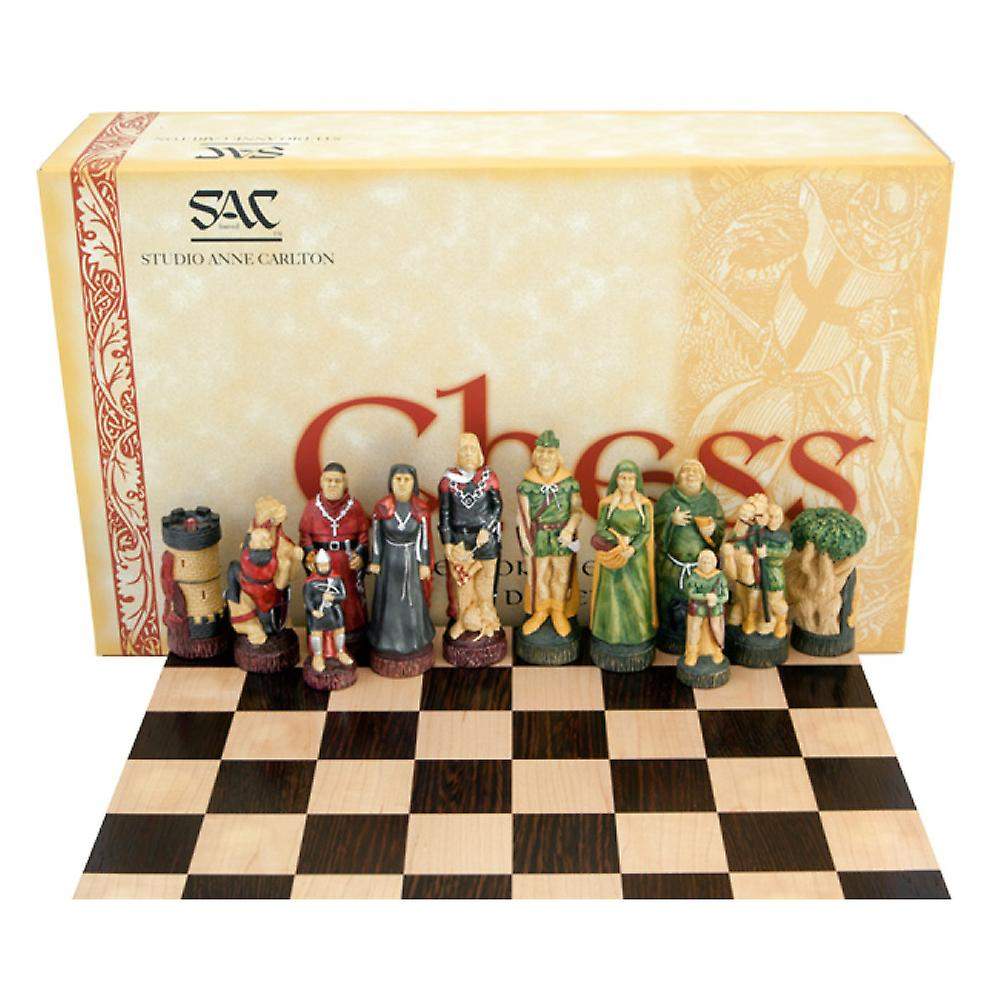 Robin Hood Hand Painted Solid Wenge Chess Set
