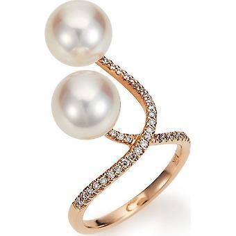 Yana Nesper Women's Ring 750Er Red Gold 39 Brilliants 0.21 ct 2 South Sea Beads 9-10mm