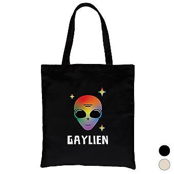 LGBT Gaylien Rainbow Alien Canvas Bag Valentine Day Gift