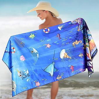 Elite Trend Microfiber Beach Towel for Travel:Oversized, Sea Animals, Size EXTRA