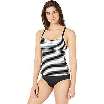 Nike Swim Women's Laser Stripe Racerback Tankini Costume, Nero, Taglia Grande