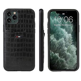 For iPhone 11 Pro Case Crocodile Pattern PU Leather Wallet Cover Black
