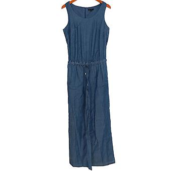 H door Halston Jumpsuits Stretch Chambray Mouwloze Donkerblauwe A277948
