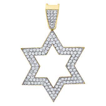 10k Oro Due Toni C'è Uomo Religioso Judaica Stella di David Altezza 39.3mm X Larghezza 26.7mm Fascino Religioso Collana Ciondolo
