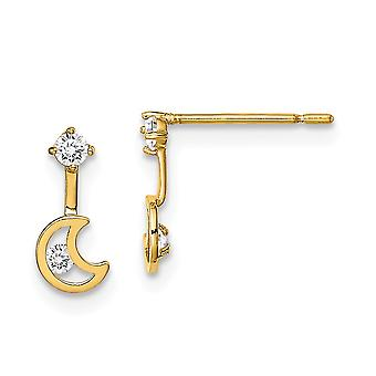 14k Madi K Celestial Moon Dangle With CZ Cubic Zirconia Simulated Diamond Post Earrings Jewelry Gifts for Women