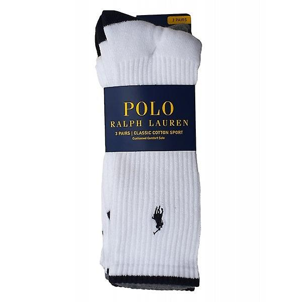 Ralph Lauren Polo Socks Classic Cotton Sports 3 Pack White One Size Mens