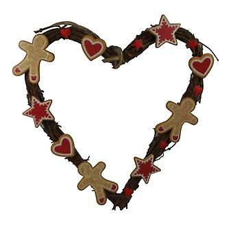 Gisela Graham Gingerbread Heart Christmas Wreath