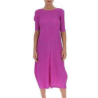 Issey Miyake Pleats Please Pp06jh16626 Women's Fuchsia Viscose Dress