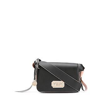 Red Valentino Sq0b0b75nea1af Women's Black/pink Leather Shoulder Bag