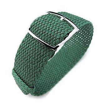 Strapcode fabric watch strap 20mm, 22mm miltat perlon watch strap, green, polished ladder lock slider buckle