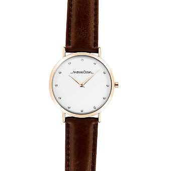 Watch Andreas Osten AO-28 - Leather Watch Brown Bo tier Dor Rose Mixed