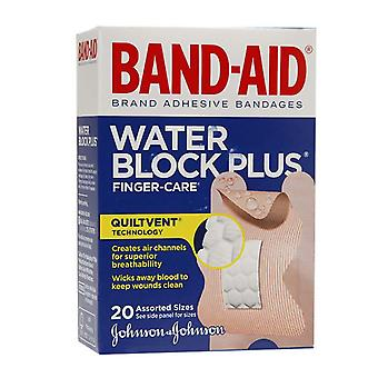 Band-aid water block plus finger-care bandages, assorted sizes, 20 ea