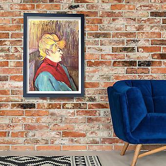 Henri Toulouse Lautrec - nainen sininen ja punainen Juliste Tulosta Giclee