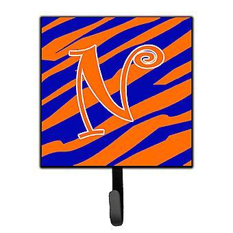 Letter N Initial Tiger Stripe Blue and Orange Leash Holder or Key Hook