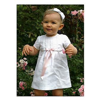 White Special Occasion, After Christening Dress In Linen