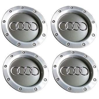 Silver Audi Wheel Centre Caps Hub Badges 147mm 4PCS For TT A1 A3 A4 A5 A6 A7 A8 Q7