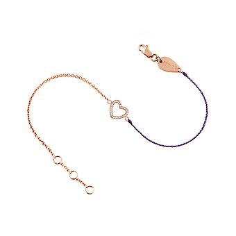 Bracelet Heart 18K Gold and Diamonds, on Half Thread Half Chain - Rose Gold, Lilac