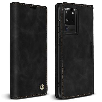 Wallet Folio Case with Stand for Samsung Galaxy S20 Ultra Vintage Finish- Black