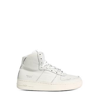 424 0075wht Men's White Leather Hi Top Sneakers