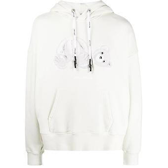 Palm Angels Pmbb058e20fle0044401 Homme's White Cotton Sweatshirt