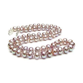 Kvinners lavendel og sølv kultur perler halskjede 925