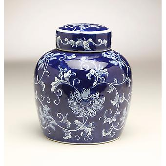AA Importing 59951 9 Inch Blue & White Ginger Jar