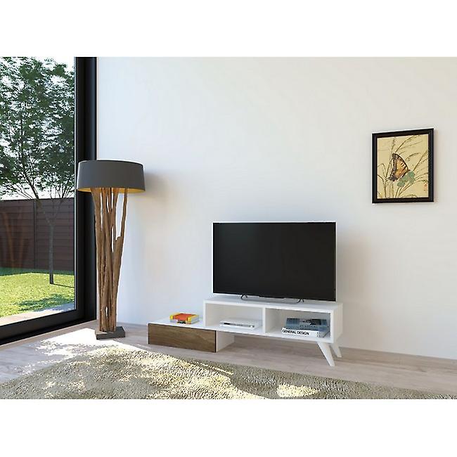 Mobile TV Port Active Color White, Noyer en puce melaminique, PVC 140x29.7x35 cm