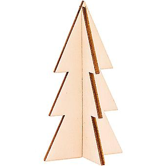 3 Natural Wooden Hanging 3D Modern Christmas Trees