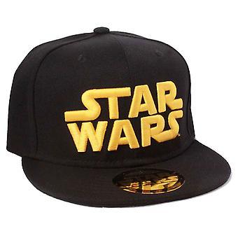 Star Wars Baseball Cap Classic gold Logo Text new Official Black Snapback