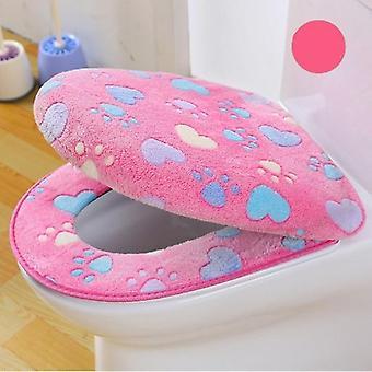Tweedelige Dikke Coral Velvet Luxe Toilet Sea Cover Set voor badkamer