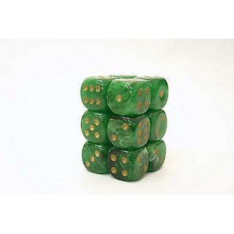Chessex 16mm D6 Block of 12 - Vortex Dice Green/gold
