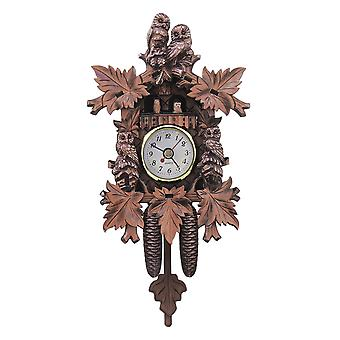 Owl bird decorations home cafe art chic swing vintage wood cuckoo wall clock