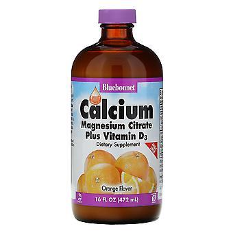 Nutrition Bluebonnet, Citrate de magnésium de calcium liquide Plus Vitamine D3, Naturel