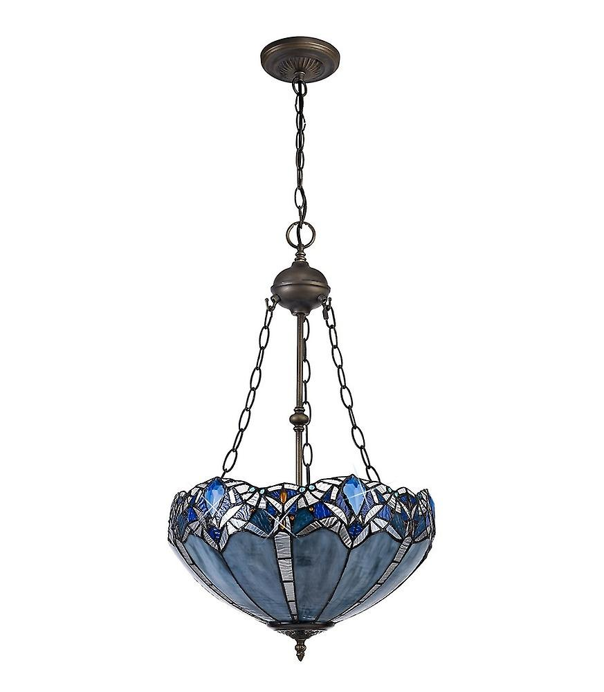 Luminosa Lighting - 2 Light Uplighter Ceiling Pendant E27 With 40cm Tiffany Shade, Blue, Clear Crystal, Aged Antique Brass