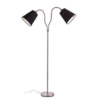 2 Light Indoor Floor Lamp Steel, E27