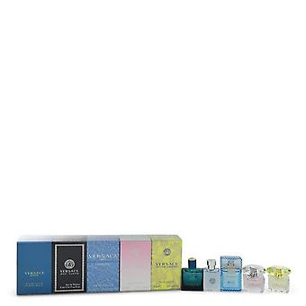 Bright Crystal Gift Set By Versace The Best of Versace Men's and Women's Miniatures Collection Includes Versace Eros, Versace Pour Homme, Versace Man Eau Fraiche, Bright Crystal, and Versace Yellow Diamond