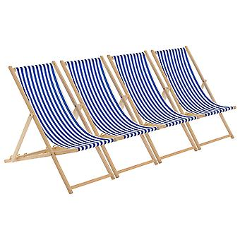 Traditional Adjustable Garden / Beach-style Deck Chair - Blue / White Stripe - Pack of 4